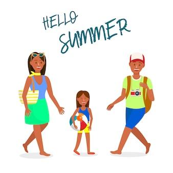 Cartolina di vettore di viaggio con ciao estate lettering