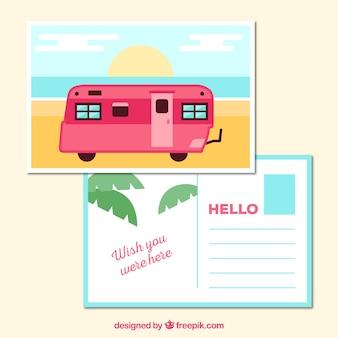 Cartolina di viaggio con caravan rosso in stile piatto