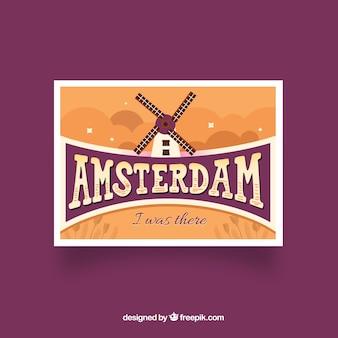 Cartolina di viaggio con stile disegnato a mano di amsterdam