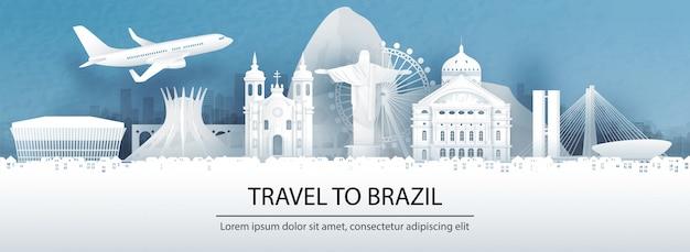 Cartolina di viaggio, pubblicità turistica di monumenti di fama mondiale del brasile