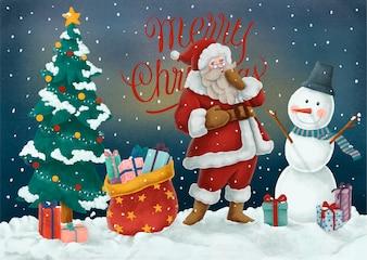 Cartolina disegnata a mano di buon Natale