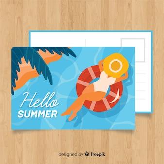 Cartolina disegnata a mano vacanza estiva