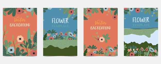 Cartolina estate disegnata a mano blu, arancio, verde con fiori e foglie