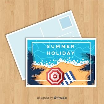 Cartolina estiva spiaggia piatta spiaggia