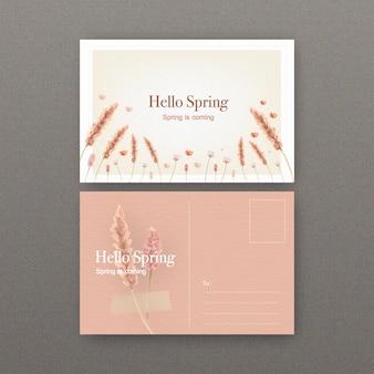 Cartolina floreale del vino con l'illustrazione dell'acquerello dei fiori.