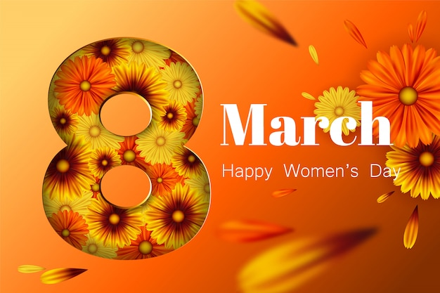 Cartolina per l'8 marzo, con fiori.