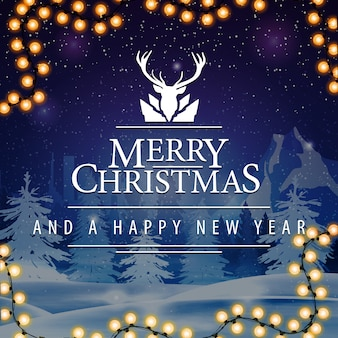 Cartolina quadrata di buon natale e felice anno nuovo con nevicate sullo sfondo