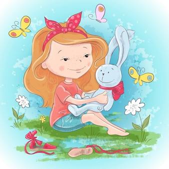 Cartolina ragazza con una lepre giocattolo e farfalle. illustrazione vettoriale di disegno a mano