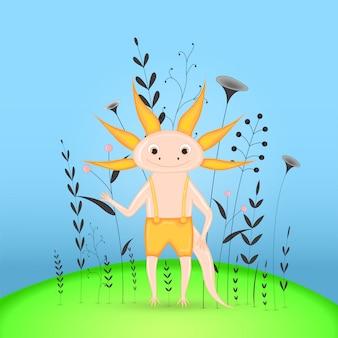 Cartolina regalo con axolotl animali cartoon.