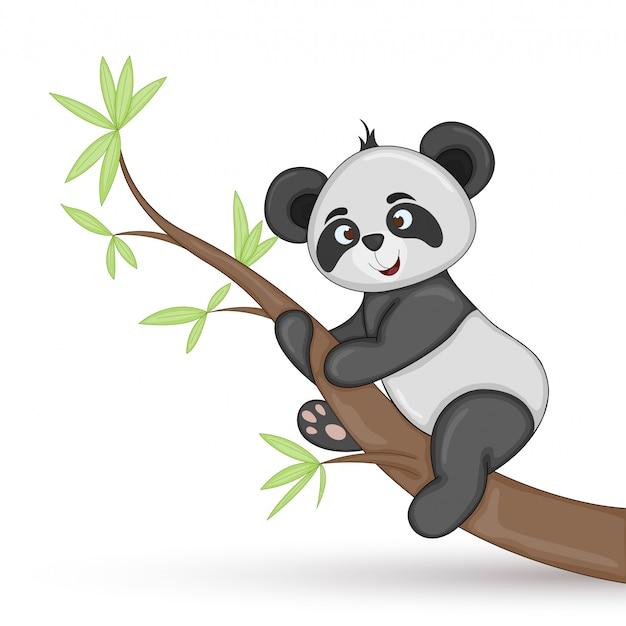 Cartolina regalo con panda di animali dei cartoni animati