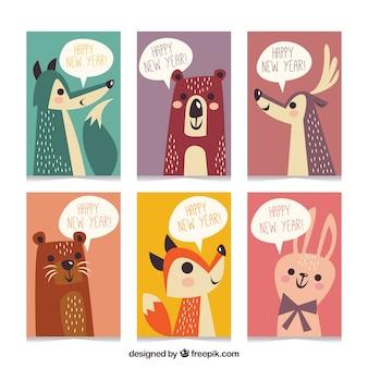 Cartoline d'auguri di nuovo anno con gli animali