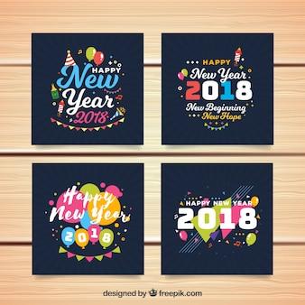 Cartoline d'auguri blu scuro per il nuovo anno