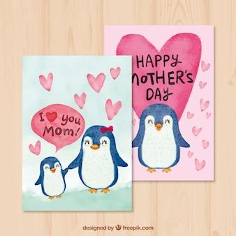 Cartoline d'auguri con simpatici pinguini per la festa della mamma