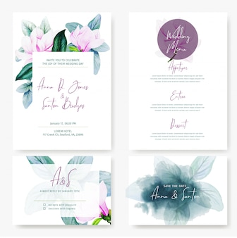 Cartoline da matrimonio, quattro disegni con magnolia
