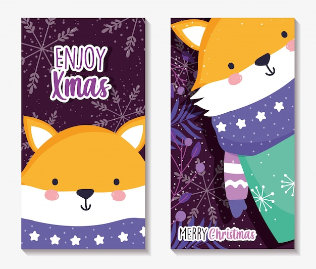 Cartoline di natale allegre con volpe con sciarpa e maglione