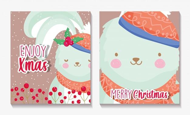 Cartoline di natale allegri con coniglio