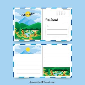 Cartoline di viaggio con paesaggio