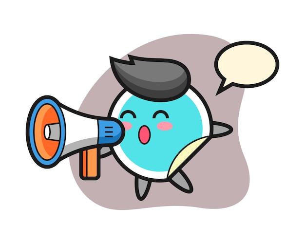 Cartone animato adesivo che tiene un megafono