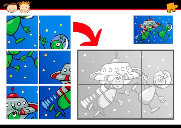 Cartone animato alieni gioco di puzzle