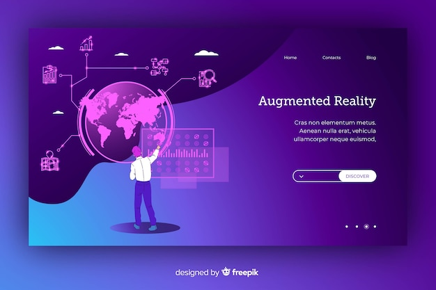 Cartone animato analizzando il globo del mondo in una realtà virtuale