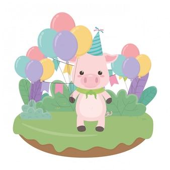 Cartone animato animale con buon compleanno