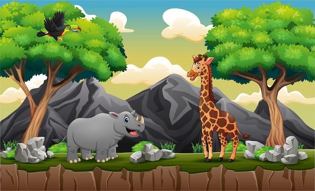 Cartone animato animali selvatici alla scogliera di montagna