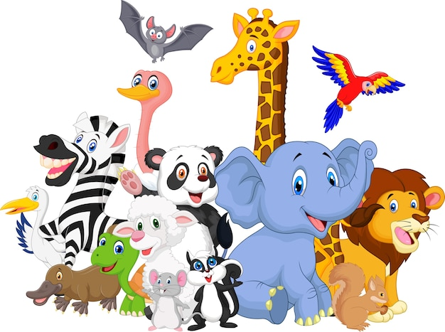 Cartone animato animali selvatici sfondo