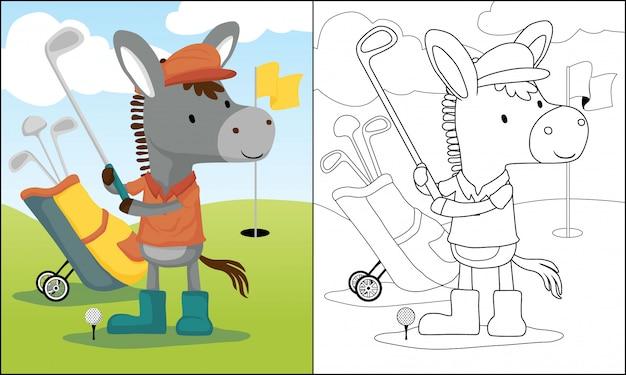 Cartone animato asino giocando a golf