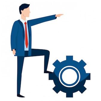 Cartone animato avatar uomo d'affari di successo