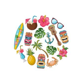 Cartone animato azteco e maya maschera elementi di sfondo modello