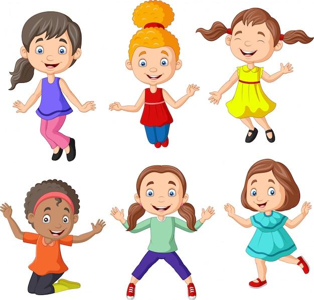 Cartone animato bambine felici con diversa posa