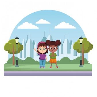 Cartone animato bambini felici