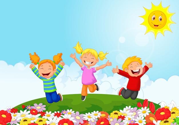 Cartone animato bambino felice