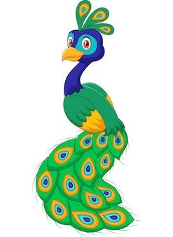 Cartone animato bellissimo pavone