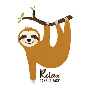 Cartone animato bradipo carino