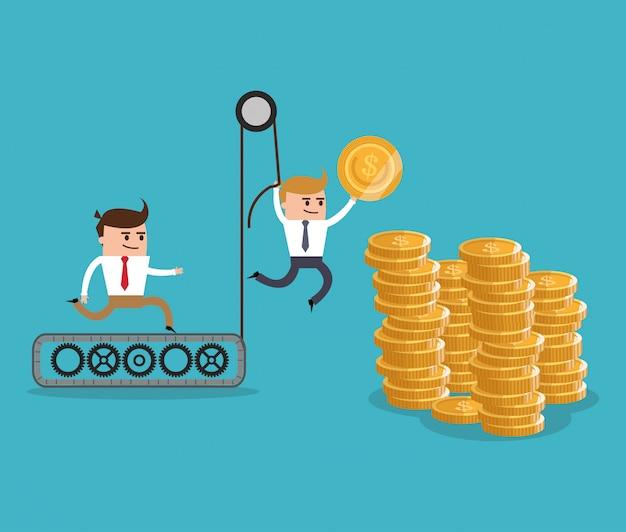 Cartone animato businnesman e oggetto finanziario
