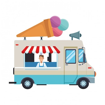 Cartone animato camion gelato