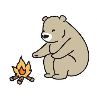 Cartone animato campeggio polare vettoriale orso