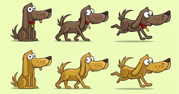 Cartone animato cane carino in diverse posizioni