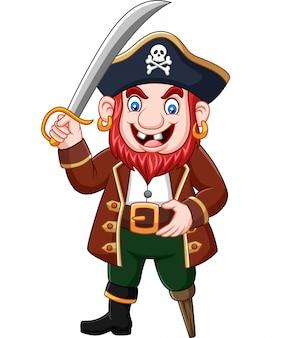 Cartone animato capitano pirata che tiene una spada