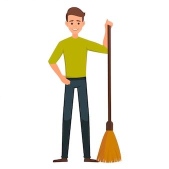 Cartone animato carattere vettoriale maschile con una scopa.