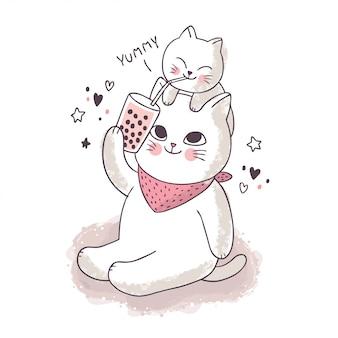 Cartone animato carino amicizia, gatti bianchi che bevono il tè della bolla