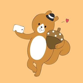 Cartone animato carino autunnale scoiattolo e ghianda selfie vettoriale.
