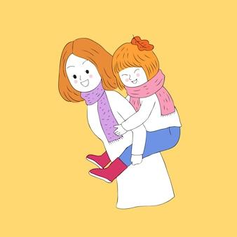 Cartone animato carino autunno madre e figlia vettoriale.