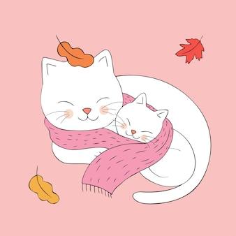 Cartone animato carino autunno mamma e baby cat dorme