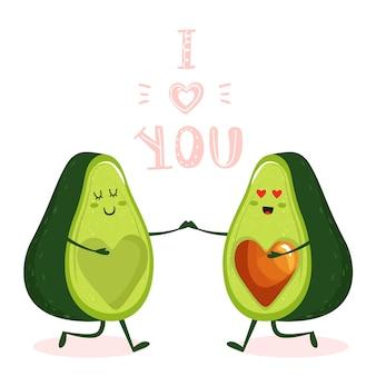 Cartone animato carino avocado coppia personaggio.