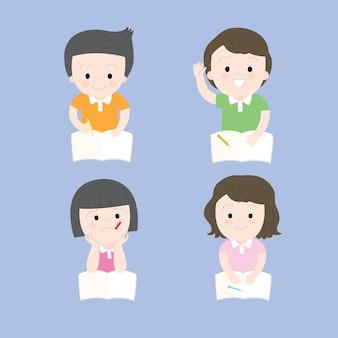 Cartone animato carino azione educazione ragazzino e ragazza