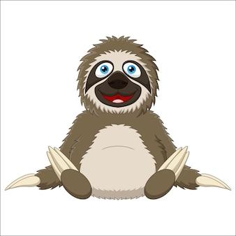 Cartone animato carino bradipo su priorità bassa bianca