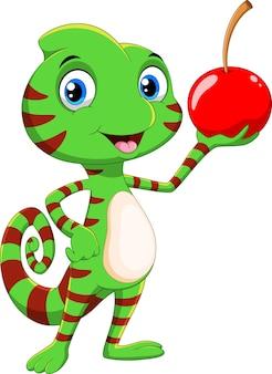 Cartone animato carino camaleonte con frutta ciliegia