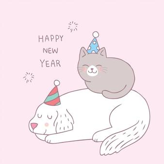 Cartone animato carino cane e gatto felice anno nuovo vettore.